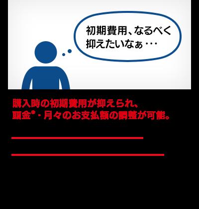 頭金は0円から設定が可能。まとまったお金がなくても、大きな出費を避けたい場合でも、安心してご利用いただけます。*頭金の下限は販売店により異なる場合がございますので、詳しくは各販売店にお問い合わせください。
